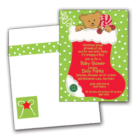 This adorable design features a bright red stocking with a smiling teddy bear peeking out the top.  The background is a festive green with white polka dots.  What a fun way to spread your holiday greetings or invite loved ones to your Christmas party!  <br><br>Printed on premium quality cardstock and the coordinating envelopes are included.